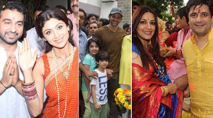 Bollywood celebs including Hrithik Roshan, Shilpa Shetty, Sonali Bendre, Anil Kapoor and their families were spotted with Ganesh idols while on their way to visarjan in Mumbai on Sunday morning. (Source: Express photo by Varinder Chawla)
