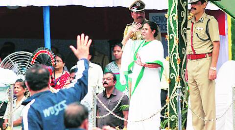 Chief Minister Mamata Banerjee during 68th Independence Day parade at Red Road in Kolkata on Friday.