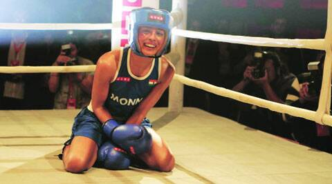 Priyanka roughing it out in the boxing ring