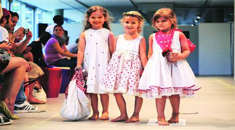 Children in Chota Pero outfits during a fashion show in Florence