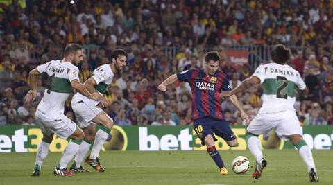 Lionel Messi was again the star of the night as he scored twice in Barcelona's opening fixture (Source: AP)