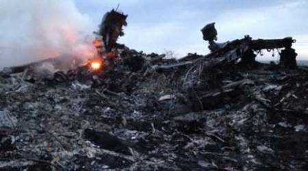 The site of the crash in Ukraine. (Source: AP)