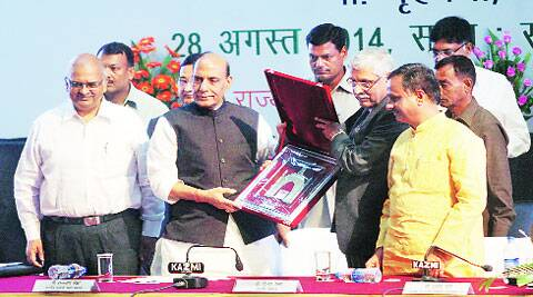 Union Home Minister Rajnath Singh at the inaugural session of Pradhanmantri Jan Dhan Yojana, in Lucknow on Thursday. (Photo: Vishal Srivastav)