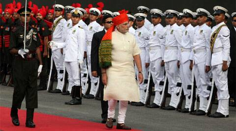 """""""We should be able to export more than we import and be a manufacturing hub,"""" PM Narendra Modi said. (Source: Express photo by Renuka Puri)"""