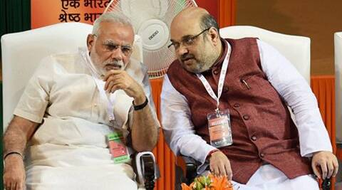 Narendra Modi and BJP President Amit Shah at the party's National Council meet in New Delhi on Saturday. (Source: PTI)