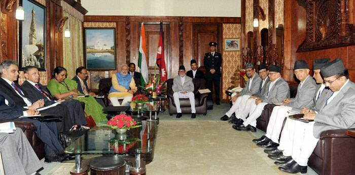 Prime Minister Narendra Modi with his Nepalese counterpart Sushil Koirala during a delegation level meeting in Kathmandu, Nepal on Sunday.  (Source: PTI)