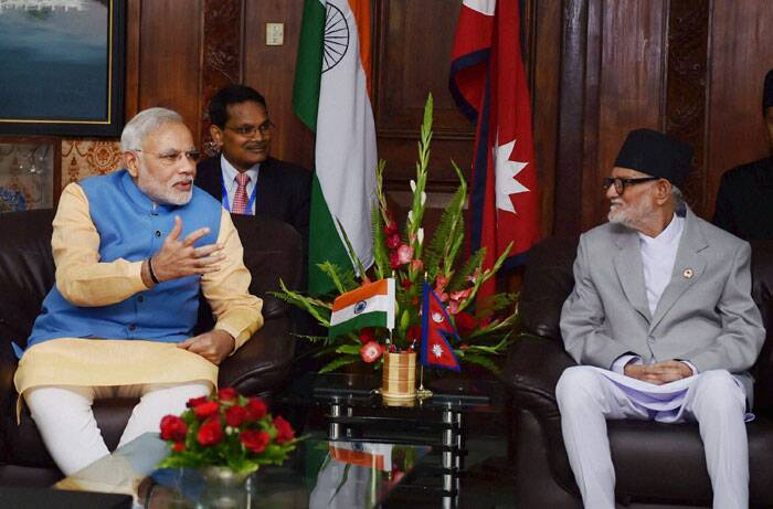 Prime Minister Narendra Modi with his Nepalese counterpart Sushil Koirala during a meeting at PMO Chambers, Singha Durbar in Kathmandu, Nepal on Sunday.  (Source: PTI)