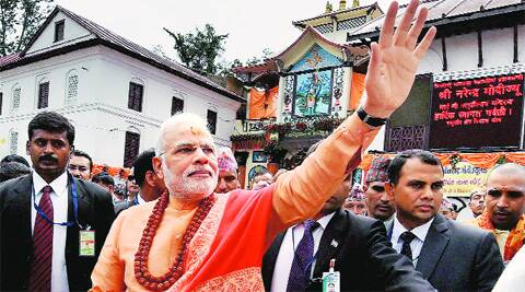 Narendra Modi at Pashupatinath temple in Kathmandu on Monday. Source: PTI