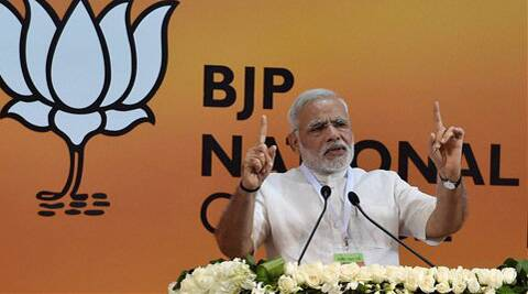 Prime Minister Narendra Modi addresses the BJP National Council meet in New Delhi on Saturday. (Source: PTI)