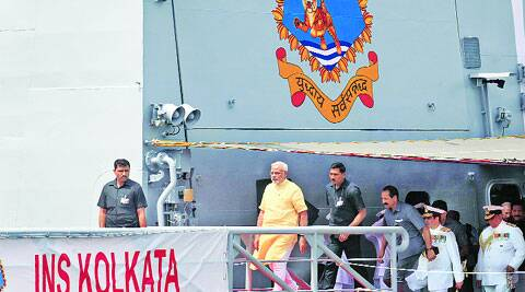 Prime Minister Narendra Modi after commissioning India's largest indigenously built warship INS Kolkata  at the Naval Dockyard in Mumbai, on Saturday. He said military might was the biggest deterrent to war. (Gaensh Shirsekar)