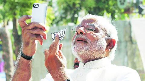 Modi in Ahmedabad on April 30. (Source: Express photo)