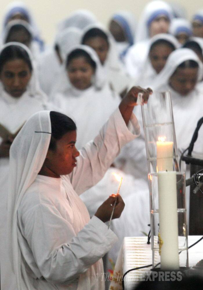 A special mass was held at Missionaries of Charity in Kolkata to celebrate the 104th birth anniversary of Mother Teresa on Tuesday (August 26). Nuns are seen praying during the special mass (Source: Express photo by Partha Paul)