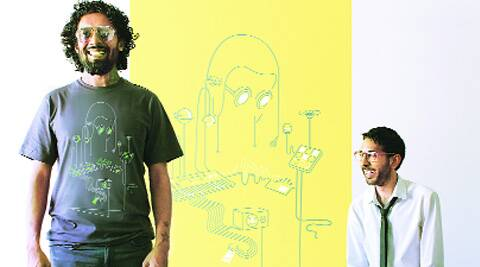 Randolph Correia (left) in a T-shirt he has designed for Kulture Shop, with Kunal Anand.