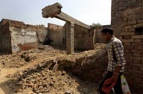 Damaged house of muslims, a year after the riots at village Lisad in Muzaffarnagar district on August 19th 2014. (Source: Express photo by Ravi Kanojia)