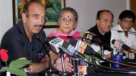 AICC leaders Ghulam Nabi Azad and Ambika Soni at a Press Conference in Jammu on Sunday. (Source: PTI)