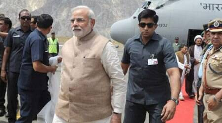 Prime Minister Narendra Modi arrives at Kargil, J&K. (Source: PIB)