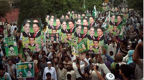 Supporters of Prime Minister Nawaz Sharif leader of the Pakistan Muslim League rally in Lahore, Pakistan.