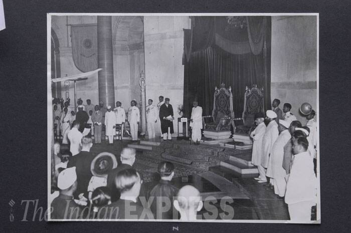 Distinguished audience is seen watching Jawaharlal Nehru delivering his famous 'tryst with destiny' speech on the midnight of August 15, 1947. (Express archive photo)