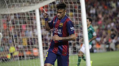 Barcelona's Neymar celebrates scoring his side's second goal during the Joan Gamper trophy friendly soccer match (Source: AP)