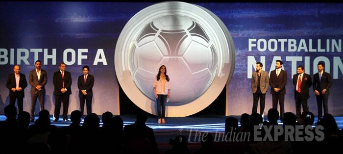 The Indian Super League was launched at a starry gathering in Mumbai on Thursday. Nita Ambani, who is the founding chairperson of Football Sports Development, a joint venture between IMG-Reliance and Star under which the ISL will be held, kicked off proceedings (Source: Express Photo by Pradeep Kocharekar)