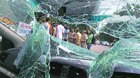 Tell Tale Signs:  The damaged car at Panjab University on Thursday (Photo: Kamleshwar Singh)