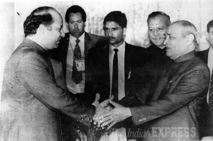 Prime Minister of Pakistan Nawaj Sharif greets Prime Minister PV Narasimha Rao during an informal meeting . (Source: Express archive)