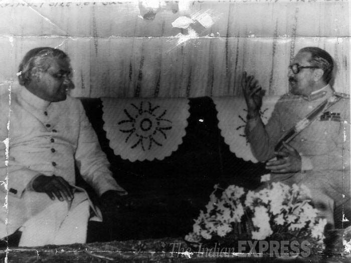 Atal Bihari Vajpayee and General Mohammad Zia-Ul-Haq of Pakistan. (Source: Express archive)