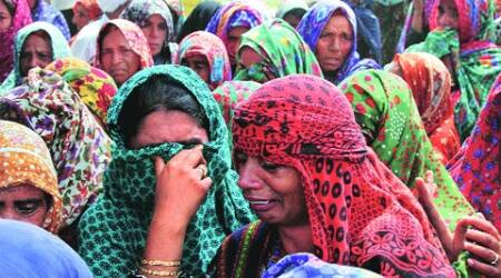 Relatives of the deceased in R S Pura sector, Saturday. (Source:PTI)