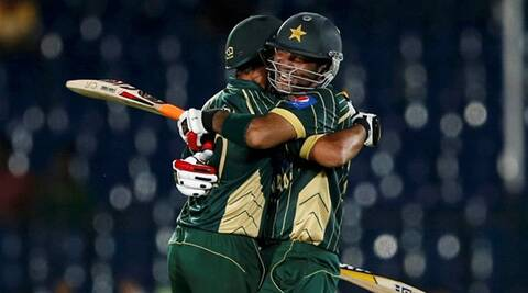 Pakistan's Shoaib Maqsood(Right) celebrates with team mate Shahis Afridi
