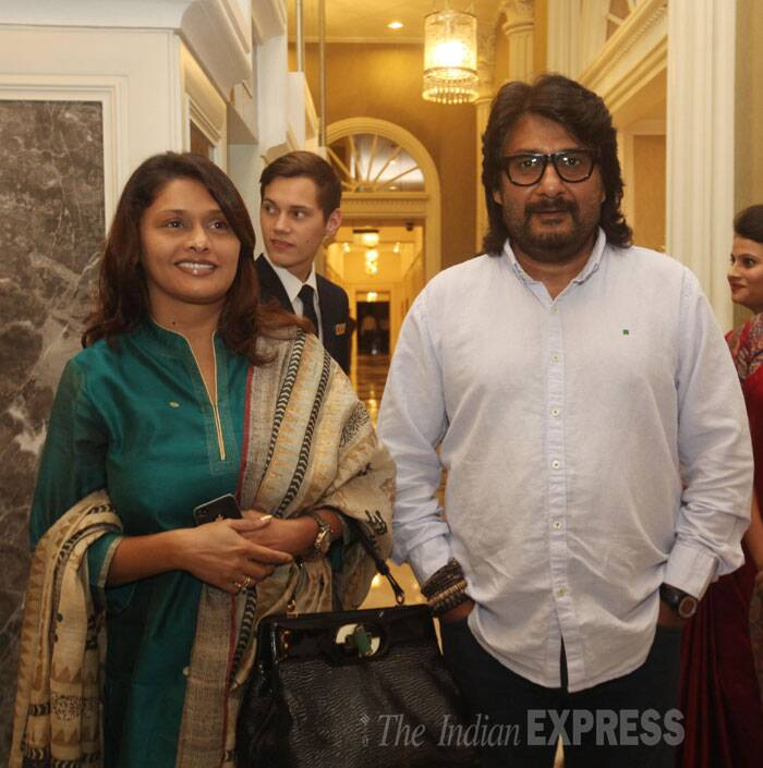 Actress Pallavi Joshi with Vivek Agnihotri at Express Adda. (Source: Express photo by Dilip Kagda)