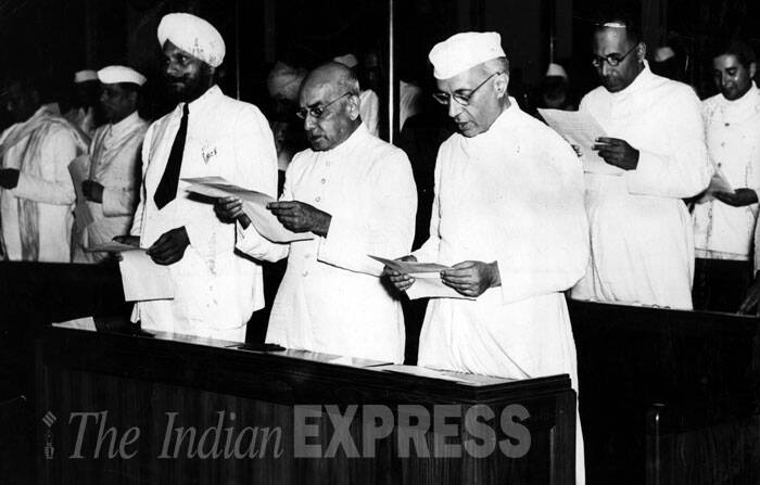 Pandit Jawaharlal Nehru during the midnight session of the Constituent Assembly of India held on 14 and 15 August 1947. (Express archive photo)