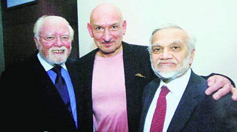 RIchard Attenborough (left) with actor Ben Kingsley and Lord Bhikhu Parekh. ( Source: Express photo )