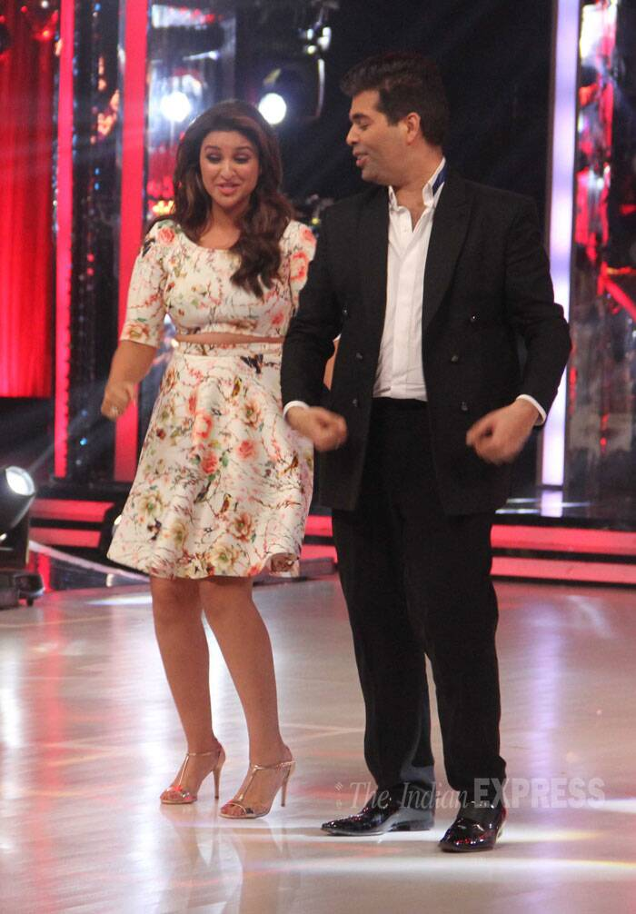 Filmmaker Karan Johar, who is also a judge on the show, joined Parineeti on the floor. (Source: Varinder Chawla)