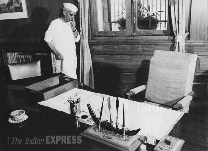 Prime Minister Charan Singh at his office in South Block on July 30, 1979. (Source: Express archive photo)
