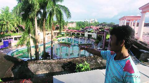 The pool at Lake Land Country Club, where Subhanjita Basak (below) drowned, in Howrah on Monday. (Source: Express photo by Partha Paul)