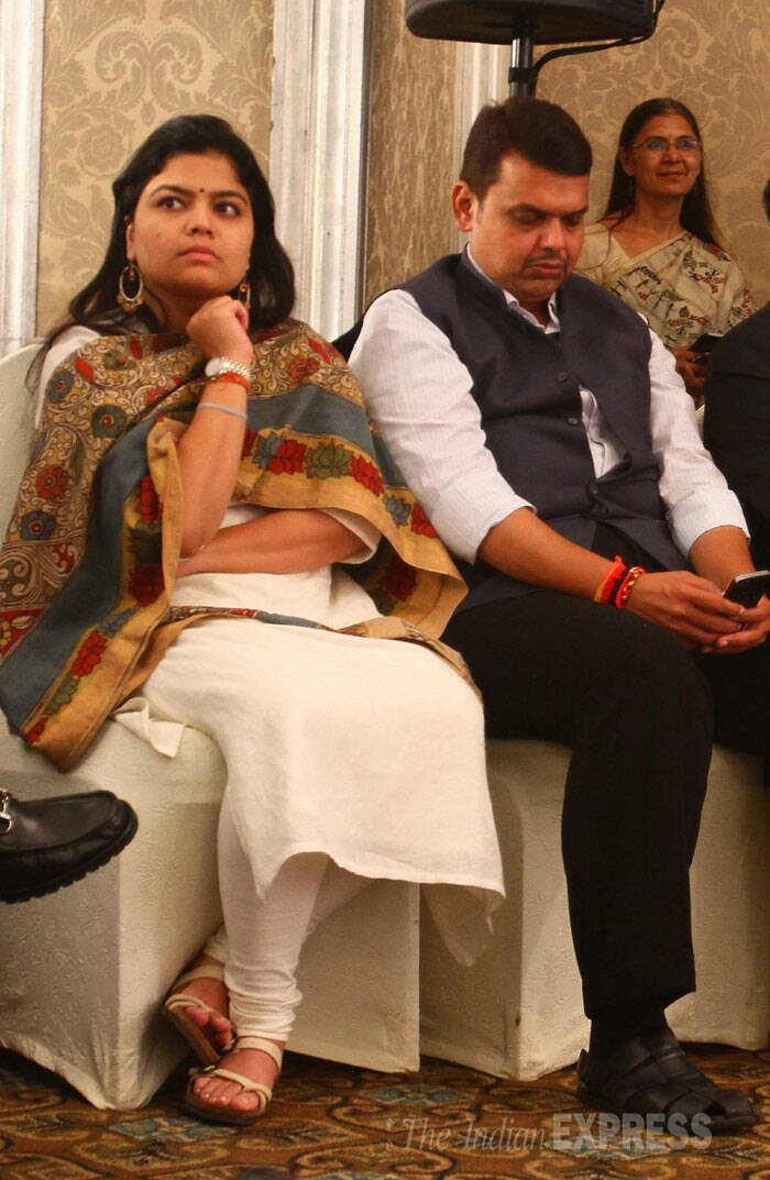 MP Poonam Mahajan with MLA Devendra Fadnavis at Express Adda. (Source: Express photo by Amit Chakravarty)