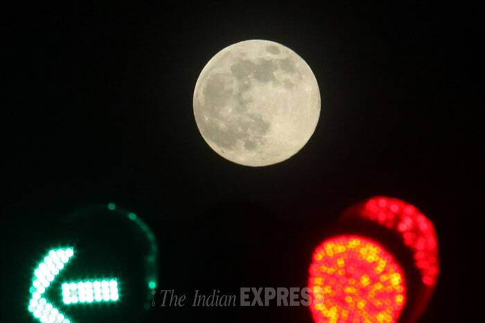 Supermoon is seen in Kolkata. (Source: Express photo by Partha Paul)