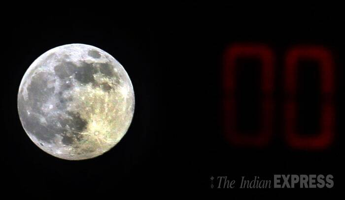 A view of the supermoon in Kolkata. (Source: Express Photo by Partha Paul)
