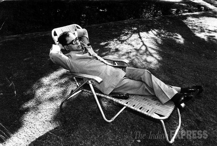 President Pranab Mukherjee is seen relaxing after giving the final touch to his budget at his residence garden in the year 1984. (Express archive photo)