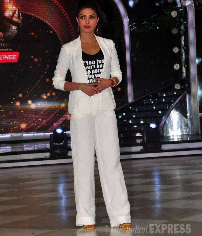 Priyanka Chopra was smart in a white Armani linen suit with a black tank top. (Source: Varinder Chawla)
