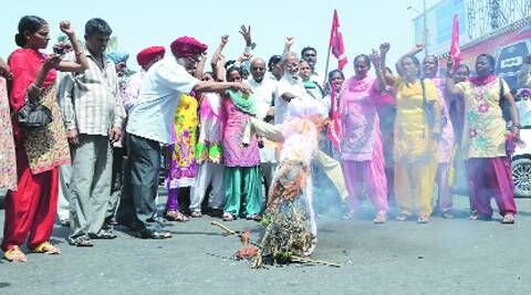 During the protest in Ludhiana on Monday. (Source: Express photo)