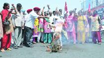 Asha workers protest, burn effigy of health minister