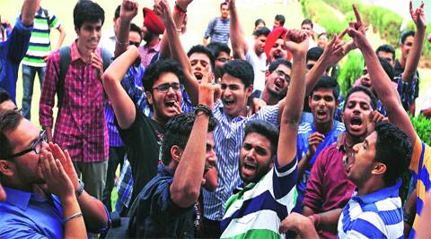 During filing of nomination papers at Panjab University on Friday. (Source: Express photo by Kamleshwar Singh)