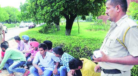 Outsiders detained by police during the SOPU rally at Panjab University on Tuesday.