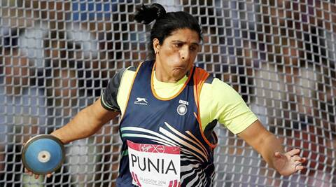 Seema Punia, just before her medal winning throw at Glasgow. (Source: PTI)