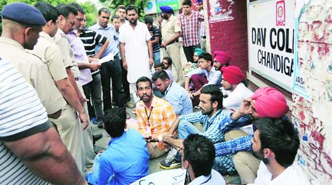 PUSU members outside DAV college in Sector 10, Chandigarh, on Saturday.