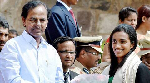 PV Sindhu felicititated by Telangana Chief Minister on Independence Day in Hyderabad. (Source: PTI)