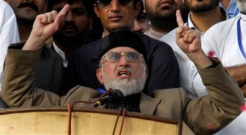 Qadri and opposition leader Imran Khan have been leading separate protests for the past seven days to force Sharif's resignation over alleged rigging in the 2013 elections. (Source: AP photo)