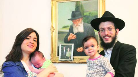 Rabbi Kozlovsky with his family in Mumbai on Friday. (Source: Express photo by Vasant Prabhu)