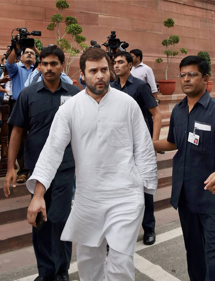 Congress Vice President Rahul Gandhi at Parliament House in New Delhi on Tuesday during the budget session. (Source: PTI)